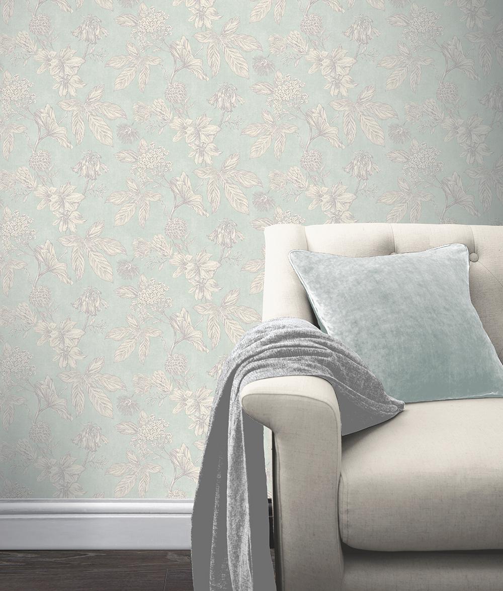 Papel Pintado Cocoon hogarami 902703 botanic floral soft teal roomset